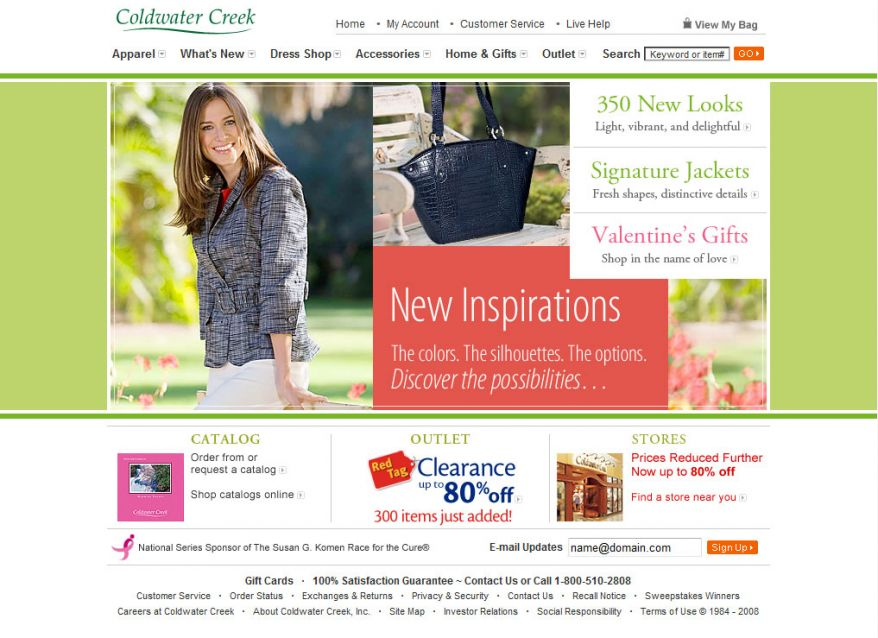 ColdWater Creek website redesign